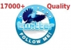 I will add 17000+ REAL look twitter followers to your account twitter in 24 hours, No un follow, egger and without your password