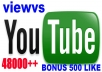 give your YouTube Video Over 48000 Views + 500 Likes Guaranteed within 72hours - 98 hours