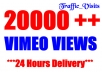 add 20,000 fast views to your VIMEO videos in 24 hours, multiple videos up to 3.............