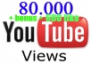 give your YouTube Video Over 80000++ Views + 600 Likes Guaranteed within 72hours - 98 hours