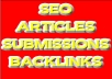 write you a unique article, upload that article to 20 doc sharing sites, then submit the article to 30 article dir sites, and finally do 10 web 20 submissions with the article