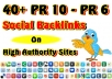 manually create 40+ PR10 to PR6 seo social bookmarking Backlinks from high authority sites