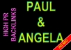 boost your web rank: 100 backlinks Paul and Angela in high Page Rank (8-4) sites