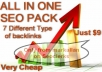 give you CHEAP ALL IN ONE SEO PACK with 4 PR7 to PR4 Dofollow Comment Backlinks +500 Edu +30 Dofollow Edu & Gov Dofollow +100 Social Backlinks