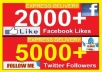 give 2000+ facebook likes [Permanent] to ur facebook fan Page OR 5000+ twitter followers to twitter account, likes Or followers deliver fast