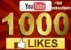 Give you 1000+ Guaranteed[Fast] YouTube Likes +100 subscribers [Real human]For 4 video separately
