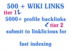 build 500+ high pr contextual WIKILINKS and 5000 forum profile backlinks for indexation, 2 Tier architecture + report