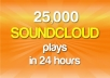 give you 25,000 SOUNDCLOUD Plays to Your Song Within 48 Hours