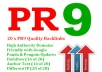 create you 20 PR9 backlinks from 20 different PR 9 high authority sites [ dofollow, Panda and Penguin compatible ] + pinging