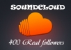 get you 400+ REAL Soundcloud followers Without admin acces