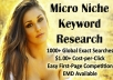 provide you an micro niche site keyword with 1000+ global exact searches, easy competition, 1+ cpc, and EMD available