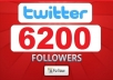 give you 6200+ [Staying] twitter followers, all Real Looking High Quality twitter followers deliver within 24 hours