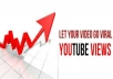send 1000 Real youtube views + 50 Likes + 50 Subscribers + 50 Favorites + 10 Comments to your youtube video