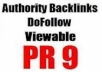 manually create 20 PR9 backlinks from 20 different PR 9 high authority sites [DoFollow, Anchor Text, Panda/Penguin Safe, Viewable] + pinging