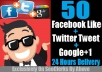 Give 50 Facebook like + 50 tweet + 50 Google+1 In Any Web Page Only