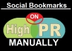 make manually 25 top PR4-PR8 social bookmarks