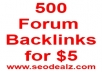 create 500 backlinks on PR3 or higher sites
