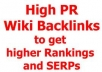 will submit your site on 500++ Wiki links for Higher Google Rankings and great exposure