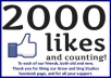 send you 2000 likes to your Facebook fan page in less than a 23 hours