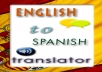 will will translate any 500 words text from English to Spanish