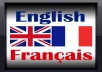 will will translate any 500 words text from English to French or vice versa