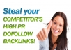 get list of 3 competitors DoFollow PR backlinks