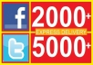 give 2000+ facebook likes to facebook Fan Page OR 5000+ twitter followers, likes!!!!!