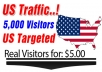 send 5000 Unique Usa Visitors, High Quality Traffic from USA to your website!!~~!!