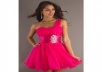 Fuchsia Sequin Detail One Shoulder Tulle Baby Doll Dress