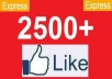give you 2500+ Facebook likes to your facebook fanpages, likes within 24 hours