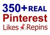 provide 350+ Real Pinterest Repins or Likes for your Pin ID or photos within 2 days