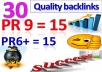 create 15► PR9 and 15► PR6+ ►Total 30 High quality Penguin safe backlinks for your site