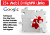 Create 25+ Web 2.0 High PR Authority Contextual Backlinks for your website to Rank it on Top of Google
