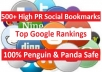 build 500+ HighPR Social Bookmarks for Unlimited URLs, Top Quality Backlinks
