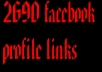 give 2690 facebook profile links with over 1000+ friends 
