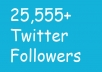 Add 25000+ Real Looking twitter followers in your twitter profile [ No Unfollow ]