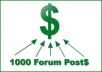 provide  1000 + back links from  Forum Posts on domains with PR, for up to 20 of your URLs