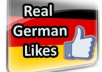 add 300 Genuine  REAL German Facebook Likes for a Fan Page