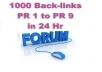 promote your webpage or website link over 1000 PR1 to PR9 forums in just 24 hr