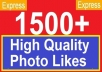 give 1500 High quality facebook likes, facebook Fanpage/PHOTO/Status/Video