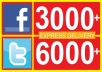 3000 Facebook likes OR 6000 Twitter followers, facebook likes, Twitter followers