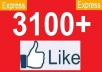 give 3100+ [PERMANENT] Facebook likes to your facebook fanpage,likes in 24 hours