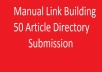 Create 50 Article Directory Post Using manual link building Technique
