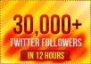 add 30,000 High Quality real looking permanent twitter followers to your twitter account in less than 24 hours