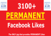 give 3100+ [PERMANENT] Facebook Likes to your Facebook fanpage within 48 hours