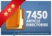 I will spin and submit your article to 7450 Directories, Get 500+ Google Backlinks