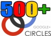 I will give you 500++ Google plus Circles to your page to seo rock up your high rank on google