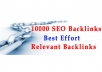 I will create 10000 seo Relevant Backlinks for top rankings