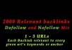 I will create 2000 relevant backlinks dofollow and nofollow mix