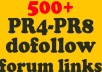 give you a list of 500+ forums that accept dofollow backlinks PR4 PR5 PR6 PR7 and PR8 that you can post your links to!!@@~~